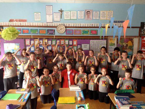 This is the fifth grade at Christ the King with their rosaries provided by Court Fanny Allen #1060.  They also prayed the rosary together with the school on Thursday, October 1st for life.