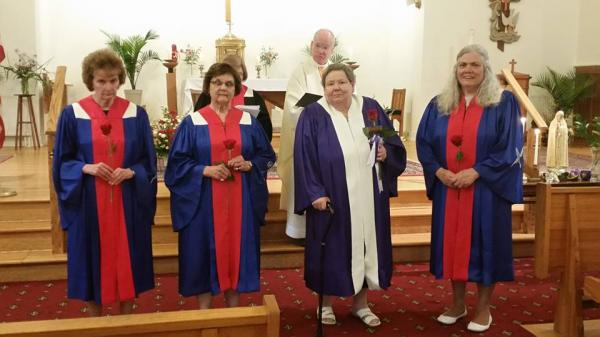 Court Fanny Allen #1060 Installation of Officers 06/08/2016 w/Chaplain Fr. Ranges at Holy Family Church, Present, State Officers, D.D. Joan Trombley, Coordinator & State Regent: Sharon Winzler and members of the court.
